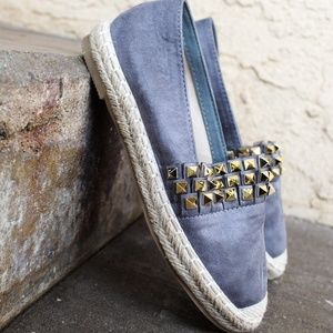 Shoes - 🆕//The Steph// Grey vegan suede espadrille Flat